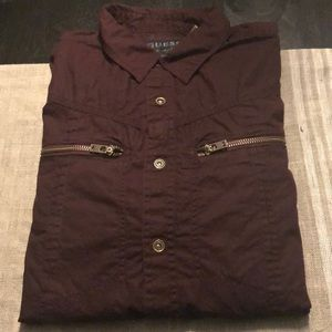 Guess Men's Maroon Button up Long Sleeve Shirt